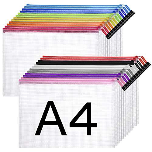STOBOK 24 Stück Dokumententasche | Größe A4 Reißverschlusstasche,ipow Reißverschlussbeutel Mesh Taschen Set Zipper Beutel für Datei,Papier,Dokumente,Kosmetika und Reiseutensilien
