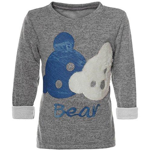 BEZLIT Mädchen Pullover Bären Motiv Langarm Sweatshirt 21581 Grau Größe 116