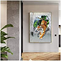 LIUYUEKAI 抽象動物タイガーダウンザマウンテン写真現代のキャンバス絵画ポスターとプリント家の壁の装飾-50x70cmフレームなし