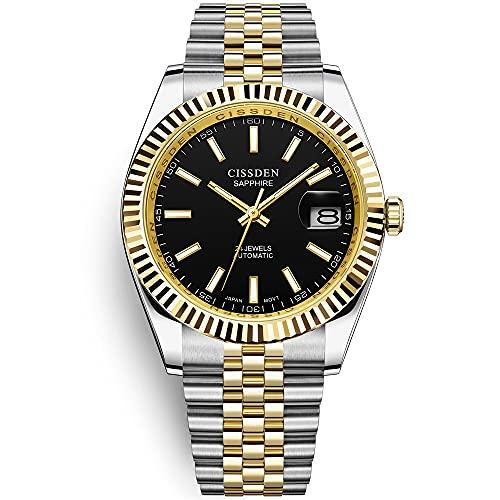 Reloj automático para Hombre Relojes de Pulsera mecánicos analógicos de Acero Inoxidable a Prueba de Agua para Hombres Pulsera de Zafiro sintético Jubilee NH35A CISSDEN