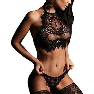 Yukong SexyLingerie, Women's Sexy Corset Lace Push up Top Bra+G-String Temptation Underwear Set (Asian Size S, Halter Black):Hotviral