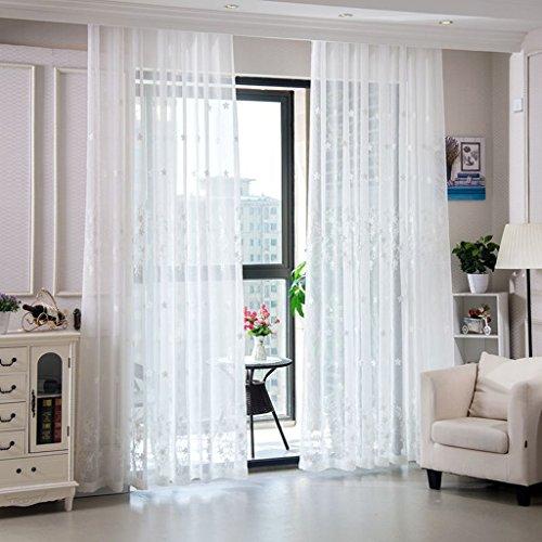 Met Love Haut de gamme Broderie Broderie Écrans Pastoral Chambre Salon Gaze Coton Linge Balcon Baie Fenêtre 2 Panneaux (taille : L:1.5*H:2.7m)