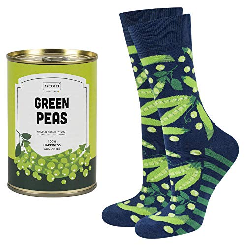 soxo calcetines de colores, estampados con guisante | para Hombre | embalaje divertido lata de conserva | 40-45 EU| calcetines de algodón alegres divertidos largos| idea para regalo empaquetado