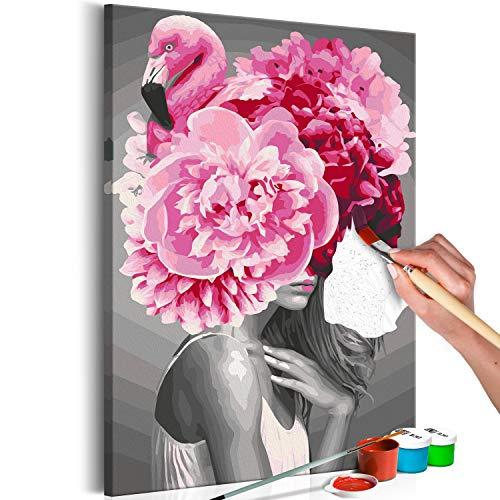 murando - Malen nach Zahlen Frau Flamingo Körper 40x60 cm Malset mit Holzrahmen auf Leinwand für Erwachsene Kinder Gemälde Handgemalt Kit DIY Geschenk Dekoration n-A-1083-d-a