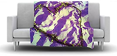 Kess InHouse Anne Labrie Purple Tiger Love Purple Yellow Fleece Throw Blanket 80 by 60