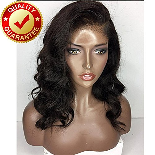 Human Hair Body Wave 360 Lace Front 100% Real Hair Brazilian Hair 150% Glueless Lace Frontal Wigs Natural Color For Black Women (14 Inch)