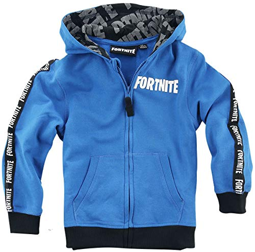 Fortnite Logo Jungen Chaqueta con Capucha Azul 122, 80% algodón, 20% poliéster,