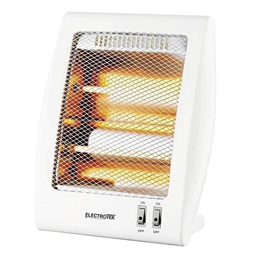Estufa de cuarzo ELECTROTEK ET-QH02, cuenta con 2 niveles de temperatura: 400W/800W. Sistema de protección en caso de vuelco accidental de la estufa.