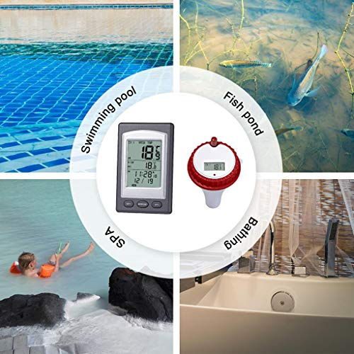 【US Stock】Solar Powered Digital Swimming Pool Thermometer -Alonea Wireless Remote Floating Temperature with LCD Display for Spa,Pools, Hot Tubs, Ponds, Accurate Fast Readings(Upgraded Version) (Red)
