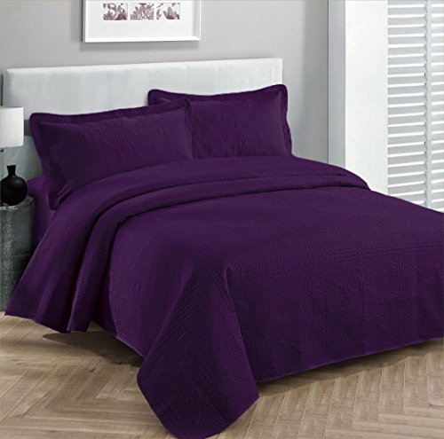 Fancy Collection 3pc Luxury Bedspread Coverlet Embossed Bed Cover Solid Drak Purple New Over Size 118'x106' King/California King