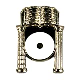 Point Within a Circle Inside Columns Masonic Lapel Pin - [Silver & White][3/4'' Tall]