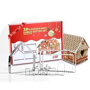 HONGECB 3D Casa Galleta De Jengibre, Juego de Cortador de Galletas Christmas Gingerbread House, Acero Inoxidable Molde para Galletas Navideñas, Navideñas para Accesorio de Cocina (10 Piezas)
