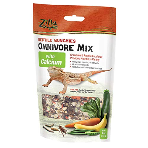 Zilla Reptile Food Munchies Omnivore Mix With Calcium, 4-Ounce