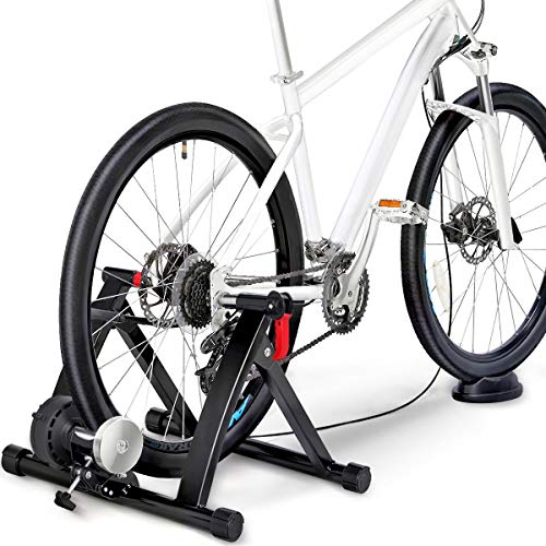 Yaheetech Turbo Trainer with 6 Speed Adjustment Folding Bike Trainer Stand Magnetic Bike Trainer with Wire-control, Fits for 26' - 29', 700C Wheels, Road/Mountain Bikes