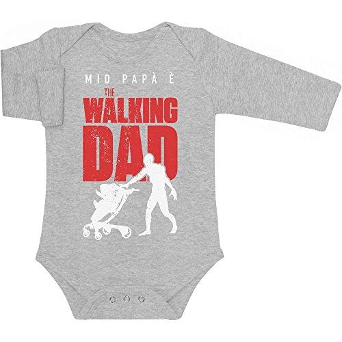 Shirtgeil Mio papà è The Walking Dad - Regalo per Fan Serie TV Body Neonato Manica Lunga 0-3 Mesi Grigio