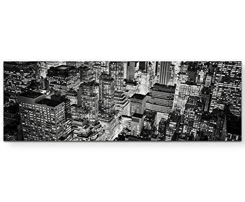 Paul Sinus Art New York City bei Nacht - Panoramabild auf Leinwand in 120x40cm