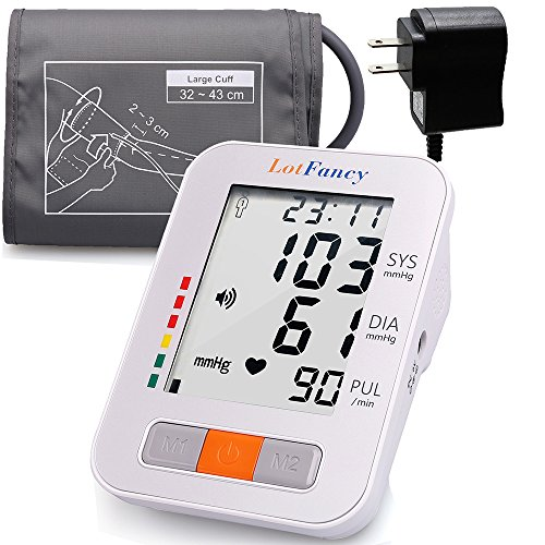 "LotFancy Upper Arm Blood Pressure Monitor, Upper Arm Cuff, 2 Users, 180 Readings, Digital BP Machine with Wide Range Cuff (13""-17""), BP Meter with Talking Function & Large LCD Display"