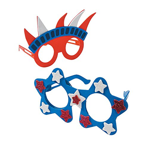 Patriotic Foam Glasses Craft Kit - 12 - Crafts for Kids and Fun Home Activities
