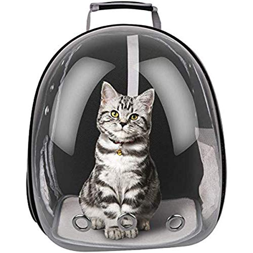 FPVERA Portable Pet Travel Breathable Backpack Pet Carrier Capsule Waterproof Transparent Breathable Space for Dog Cat Puppy-Black