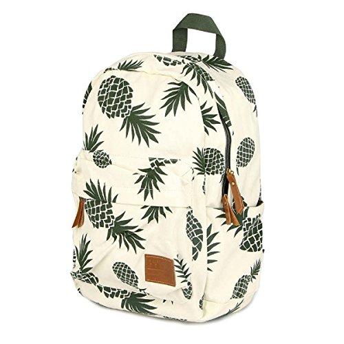 CCOHO White Pineapple School Backpack for Girls Travel Daypack Canvas Bookbag Women
