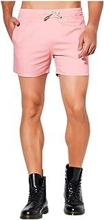 waitFOR Men Slim Fit Solid Color Swimming Trunks Plus Size Elastic Waist Hot Pants Beach Shorts Drawstring Boxer Briefs Un...