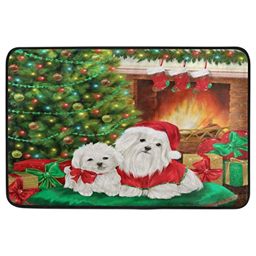 Joe-shop Feliz Navidad Felpudo Guirnalda del árbol de Navidad Perros Lindos Cachorro Chimenea Bienvenida Interior al Aire Libre Entrada Baño Alfombrilla Decorativa 60x39 Pulgadas
