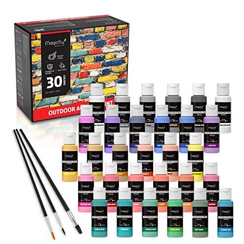 Magicfly 30 Farben waschfeste Acrylfarbe Set, je Flaschen 60ml, mit 3 zusätzlichen Pinseln, ideal für Leinwand, Papier, Holz, Stein, Keramik, Modell