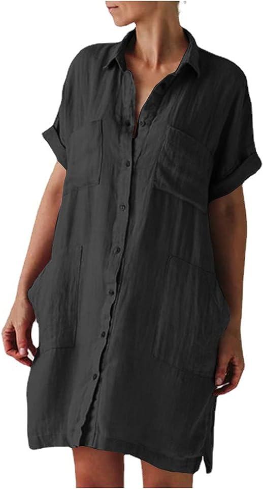 Sommerkleid Damen Kleider Leinen Beiläufige Lose Einfarbig V-Ausschnitt Kurzarm Mit Taschen Boho Maxi Kleider Abendkleid Elegant Kleider Damen Sommer Mädchen Große Größen Blusenkleid Dresses
