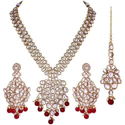Aheli Exquisito collar de boda indio con Maang Tikka Pendientes Set Bollywood étnico tradicional joyería para las mujeres