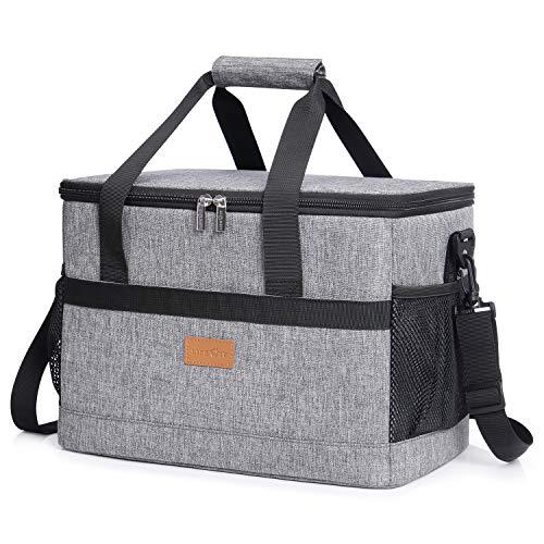 Lifewit 20L Kühltasche Groß faltbar Kühlkorb Kühlbox Isoliertasche Thermotasche Picknicktasche für Lebensmitteltransport, Grau