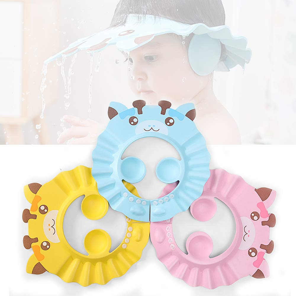 Baby Shower Cap 3 Pcs, Adjustable Silicone Shampoo Visor Bath Hat, Infants Soft Protection Safety, Protect Ear Eye Baby Hair Washing Aids for Baby Toddler Children Kids (Blue Pink Yellow)