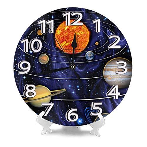 Reloj de Pared Redondo Sistema Solar Relojes de Escritorio Decoración de Metal Mudo para baño Escolar Excelente Barrido preciso