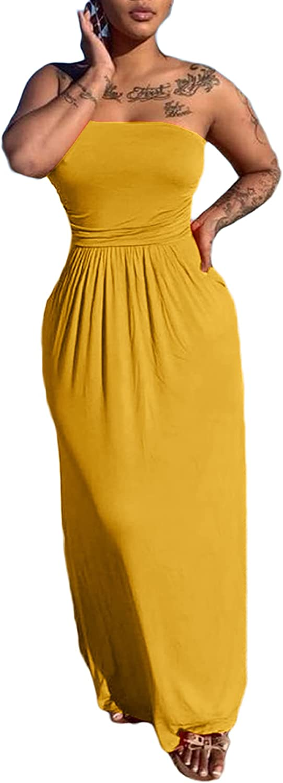 HuiSiFang Women Sexy Tube Tops Maxi Dress Summer Loose Off Shoulder Boho Clubwear Beach Long Dress