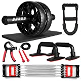 Odoland 7-in-1 Ab Roller Wheel Set with Push Up Bars, Resistance Exerciser, Hand Grip, Wrist Strength Trainer, Jump Rope, Knee Pad, Abdominal Core Carver Fitness Workout Abs for Body Training Home Gym
