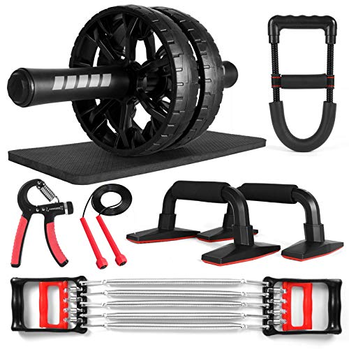 Odoland Ab Roller Set for Abs Workout, 7-in-1 Ab Wheel Core Workout Fitness Exercise Equipment with Push Up Bars, Resistance Exerciser, Hand Grip, Wrist Strength Trainer, Jump Rope and Knee Pad for Home Gym Abdominal Exercise