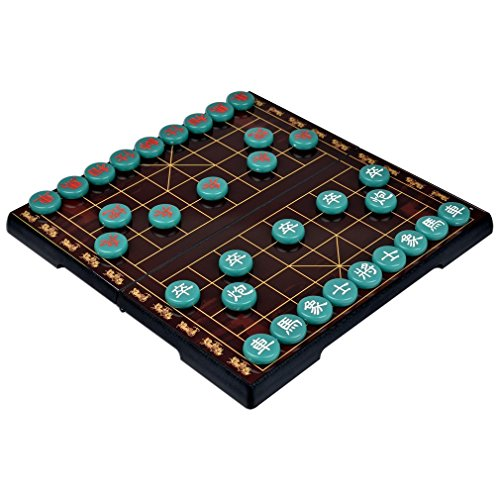 Aoile Magnetic Chinese Chess Travel Game Set with 12.75-Inch Board Jade Color Xiangqi