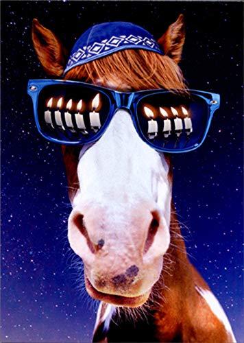 Avanti Horse Menorah Sunglasses Funny/Humorous Hanukkah Card