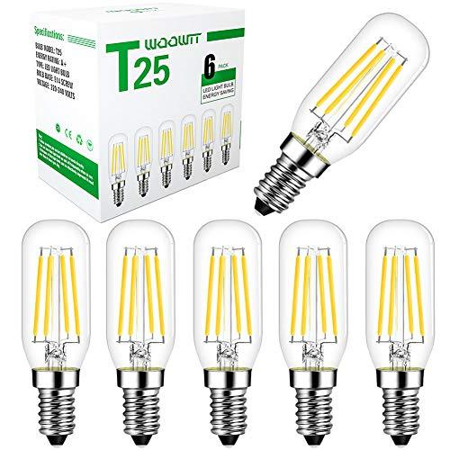 E14 LED Glühbirne, Woowtt T25 4W Dunstabzugshaube Glühbirne, Kleine Edison LED Filament Glühbirne für Kühlschrank, Mikrowelle, 220V, 4W, 6000K Kaltweiß - 6 Stück(Nicht Dimmbar)