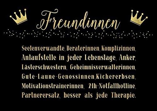 DeCoArt... Set 3 Postkarte Freundinnen Seelenverwandte Beraterinnen Komplizinnen .... ca. 15 x 10,5 cm schwarz