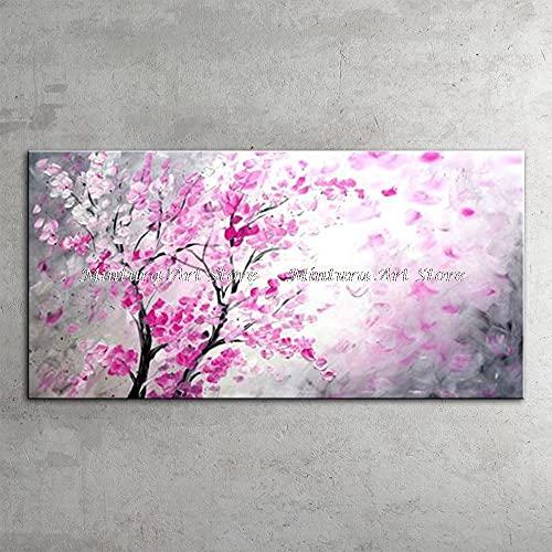 CHBOEN Peinture décorative Abstrait moderne Art peint à la main Paysage Paysage Peau Peau Blooming Fleurs Tableaux d'huile sur toile Photos murales pour la décoration de la maison
