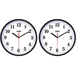 2 Pack Silent Non Ticking Quartz Wall Clock by Hippih, Battery Operated 10 Inch Round Easy to Read for Home Office School Decor Clock