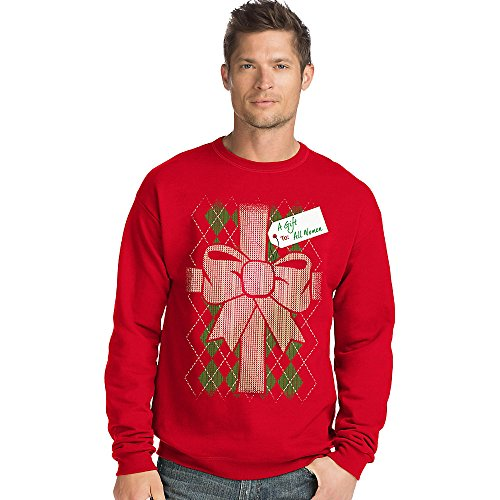 Hanes Men's Ugly Christmas Sweatshirt, Best Red/Gift To All Women, Large