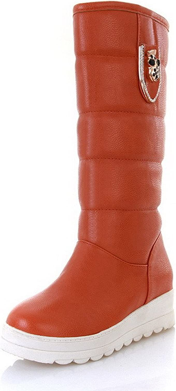 AmoonyFashion Womens Kitten Heels PU Soft Material PU Solid Boots with Metalornament and Platform, orange, 7.5 B(M) US
