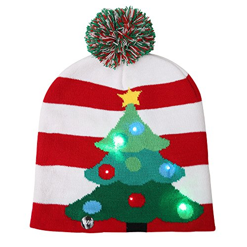 LED Light Up Knitted Ugly Sweater Hat Holiday Xmas Christmas Beanie Cap (Hat)