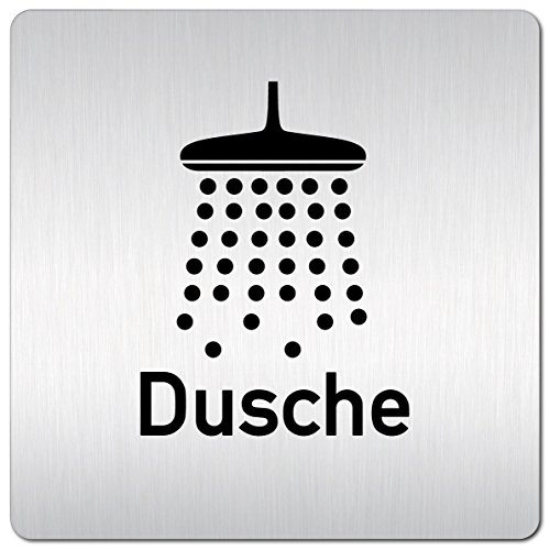 Kinekt3d Leitsysteme XXL Schild - Türschild • 125 x 125 mm • Dusche Motiv 002 • 1,5 mm Aluminium Vollmaterial • 100% Made in Germany