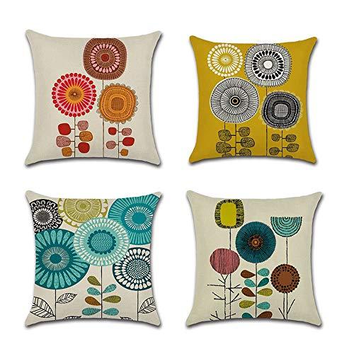 COWORK Set mit 4 Blumen Pflanzen Kissenbezug Baumwolle Leinen Dekokissen Sofa quadratischer Kissenbezug für Home Decor Favor, 45 x 45 cm mit unsichtbarem Reißverschluss