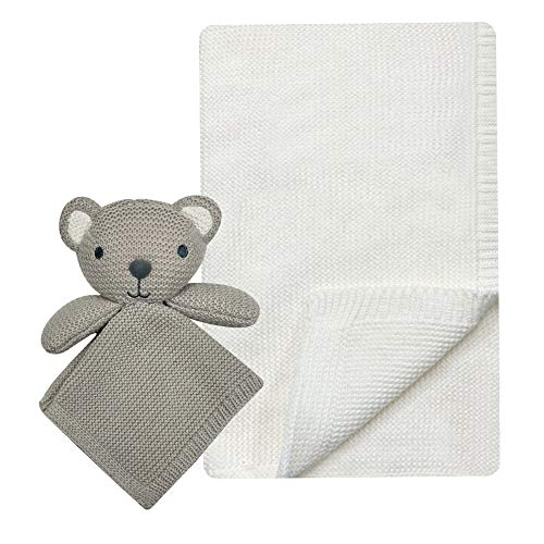 MODERN BABY Super Soft Koala Baby Blanket Set with Security Blanket Lovey Toy Newborn to Toddler Knitted Blanket Gift Set