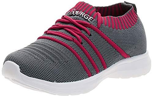 Bourge Boy's Orange-Z12 Grey and Red Running Shoes-12 UK (33 EU) (13 Kids US) (Orange-33-12)