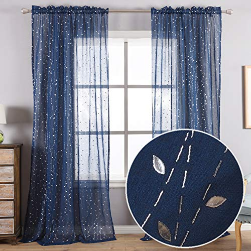 Kotile Navy Sheer Curtains for Living Room - Metallic Silver Embossed Leaf Pattern Curtains 84 Inch Length Sheer Rod Pocket Window Curtains for Bedroom, 52 x 84 Inches, 2 Panels, Navy Blue and Silver