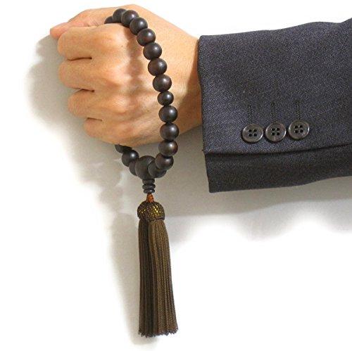 念珠堂<日本製数珠>縞黒檀22玉<数珠袋付>男性用国産手作り念珠(房色焦げ茶)全ての宗派でお使い頂けます【創業80余年老舗数珠メーカー】